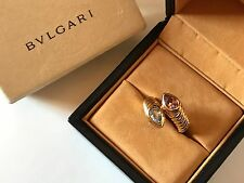 BVLGARI / BULGARI DOPPIO LADIES 18K YELLOW GOLD TOPAZ & TOURMALINE BYPASS RING