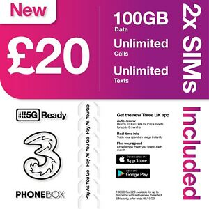 2x 3 (Three™) Pay As You Go - SIM Cards 100Gb for £20