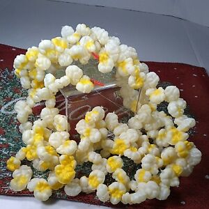 🎄Vintage Plastic Blow Mold Buttered Popcorn🍿Strings Christmas Tree Garland 9'