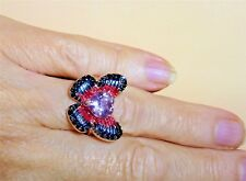 Rose De France Amethyst, Spinel and Sapphire Sterling Silver Butterfly Ring Sz 7