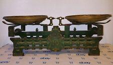 Circa 1800's Ornate Antique Mercantile Cast Iron Vintage Scale Brass Pans 10 KG
