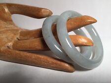 780) antique ICE CELEDON Jadite Jade MATCH PAIR  child PRINCESS BANGLE BRACELETS