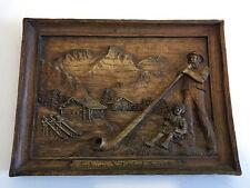 Tableau effet bois sculpté  ski montagne souvenir suisse