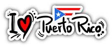 "I Love Puerto Rico Slogan Car Bumper Sticker Decal 8"" x 3"""