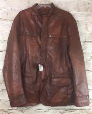 Men Paulo Solari Faux Leather Jacket Size Large NWT Color Rust