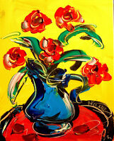 Modernist ABSTRACT PAINTING Expressionist MODERN ART  FLOWERS ARTIST  KDFB