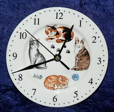 Gatti & gattini OROLOGIO DA PARETE Porcellana Orologio da parete con diverse gatti confezione regalo