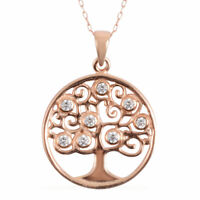 Rose Gold Plated Pendant Necklace 925 Sterling Silver Women Jewelry For Gift