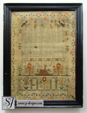 1810 Sophia Fry aged 12 English sampler with stag roses & verse original frame