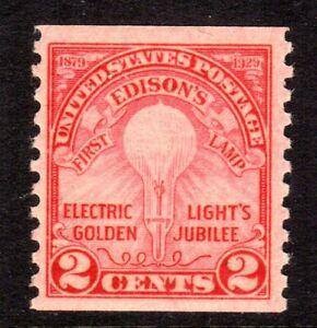 656 Edison VF MNH Rotary Press Perf 10 Coil of 1929 CV $21.00
