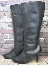 Womens Next Black Leather Zip Up High Heel Knee High Boots Size UK 8 EUR 42