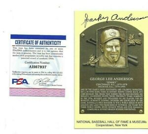 Sparky Anderson Cincinnati Reds Baseball HOF Autographed Plaque Postcard PSA COA