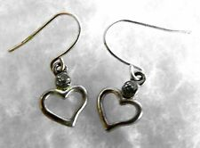 Drop Earrings Tiny Heart with White Rhinestone Accent Silvertone Hooks 1/2 inch