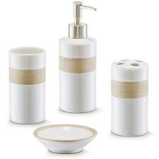 4tlg Badset beige weiß Badezimmer Bad Set Seifenspender WC Keramik Becher