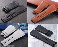 Calf Leather band strap bracelet (FITS) Bell & Ross 24mm Black Orange White
