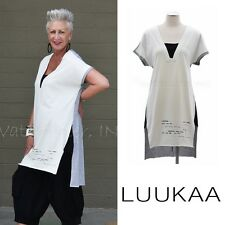 LUUKAA Jersey 7Y0154 Long VALUE TUNIC Color Block Top (sizes 6-20) 2017 Wht/Grey