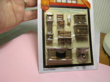 "Miniature Dollhouse 8 Pc Dining Room Set 1/4"" Scale 1:48"