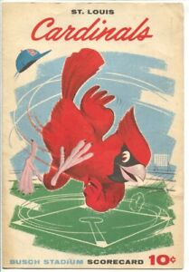 St. Louis Cardinals Scorecard 1960-vs Pittsburgh Pirates-Busch Stadium-histor...