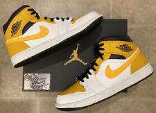 Nike Air Jordan 1 Retro Mid Gold Black White 2021 Basketball Shoes Mens Size