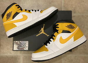 Nike Air Jordan 1 Retro Mid Gold Black White 2021 Basketball Shoes Mens Size