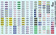License Plates 1/24th - 1/25TH Scale Waterslide Decals 11001-r