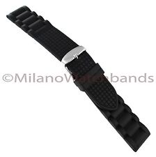 20mm Milano Black Italian Rubber Link And Grid Design Mens Watch Band Long