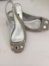 Rafe New York Slides 6 Peep Toe Sandals Natural Bling Flats Shoes Sandals