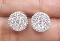Deal 1.00CTW NATURAL ROUND DIAMOND CLUSTER FASHION STUDS EARRING IN 10K GOLD 9MM