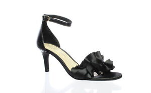 Chinese Laundry Womens Remmy Black Satin Ankle Strap Heels Size 8 (1436539)