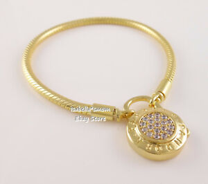 "SIGNATURE PADLOCK Authentic PANDORA Shine GOLD plated Bracelet 7.9""20cm 567757CZ"