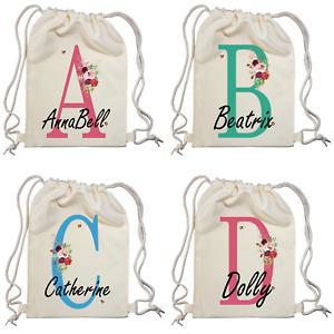 Personalised Luxury Initial Name Drawstring Bag,PE Kit School Sport Gym Backpack