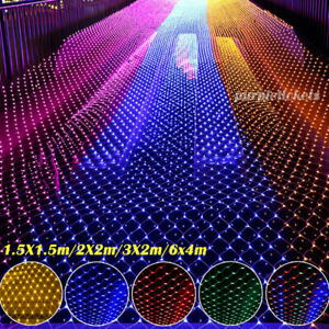 LED String Fairy Net Lights Mains Curtain Mesh Outdoor Garden Christmas Party UK