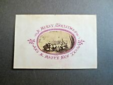Victorian CHRISTMAS Card 1860s C & E L Applied Scrap of Grand Dinner Embossed