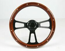 14 Slotted 3 Spoke Black Steering Wheel Wood Grip 6 Hole Chevy Ford Gmc