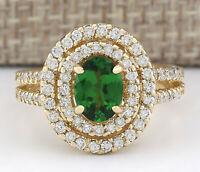 2.25 Carat Natural Tsavorite 14K Yellow Gold Diamond Ring