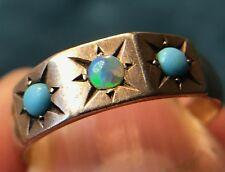 14k Yellow Gold Natural Australian Black Opal & Turquoise Ring. Gypsy-Set--K1L10