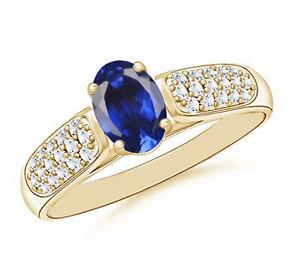 Natural Blue Tanzanite 1.80Ct & IGI Certified Diamond Ring In 14KT Yellow Gold