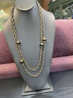 "VINTAGE KENNETH J LANE Gold Tone Black  BEADED 54"" LONG NECKLACE SIGNED"