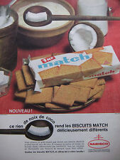PUBLICITÉ DE PRESSE 1962 BISCUITS MATCH NOIX DE COCO - NABISCO - ADVERTISING