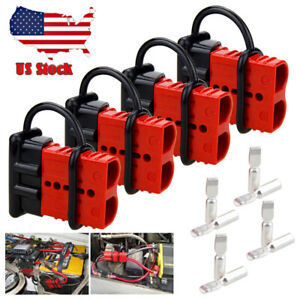 4X Battery Quick Connect Disconnect Electrical Plug 50A 2-4 Gauge Winch Trailer
