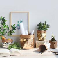 Washable Kraft Paper Bag Plant Flowers Pots Multifunction Home Storage Bag Reuse