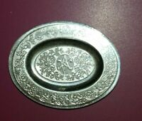 Dollhouse miniature vintage sterling silver Victorian Period oval plate,  1:12