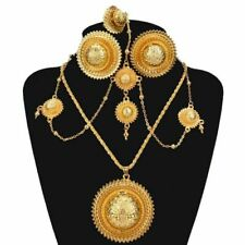 Jewelry Set Ethiopian Habesha Bridal African Earrings Necklace Ring Headdress