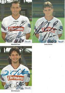 3 x AK Karlsruher SC 1994/95 - E. CARL - D. SCHUSTER - BONAN - original signiert
