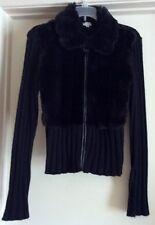 XOXO Women's Cardigan Sweater Zipper Front Leather Trim Faux Fur Black Size S