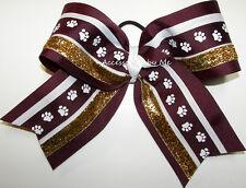 Big Cheer Bow Maroon Paw Print Gold Girls Bulldogs Spirit 8 Inch Hair Accessory