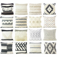 Decorative Woven Tufted Colorful Cushion Cover Case Fringe Couch Sofa Throw Colo