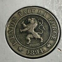 1894  BELGIUM 10 CENTIMES HIGHER GRADE COIN