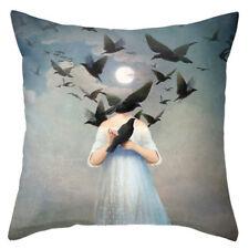Moon Dreaming Blackbirds Retro Design Linen Square Pillow Cushion Cover.