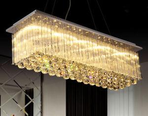 Modern LED rectangular lamp restaurant dining room crystal lights remote dimmer